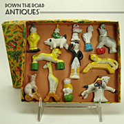 Bisque Circus Animals and Performer - Mint in Box - 1920's