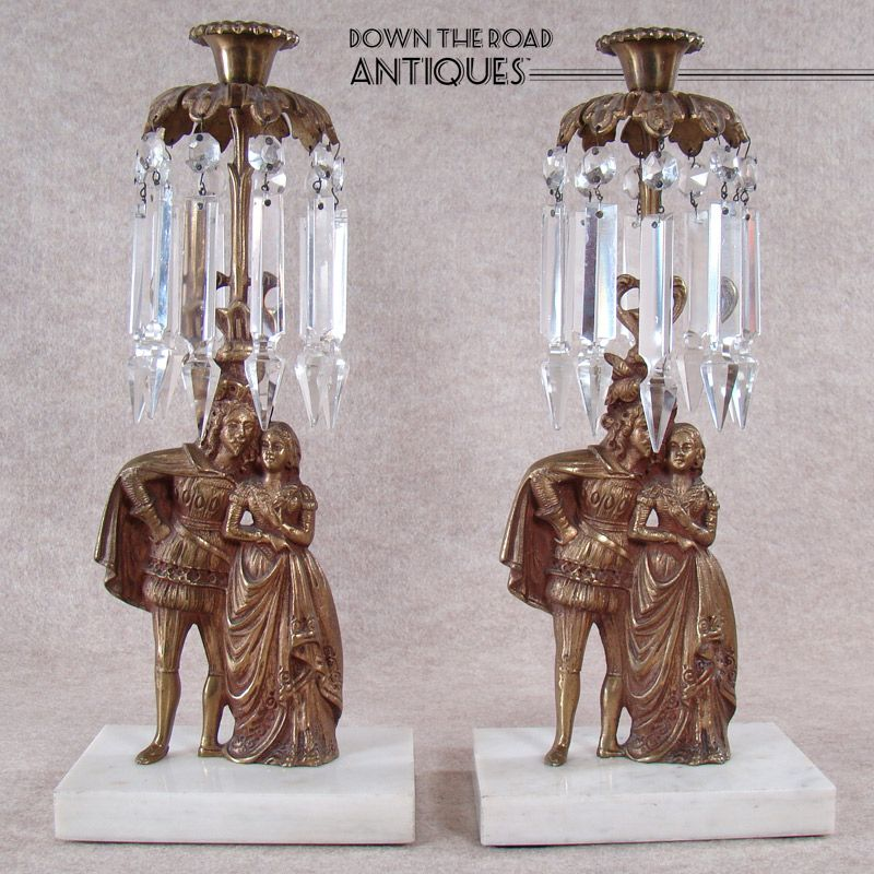 Victorian Brass Candelabras with Cut Prism Spears (Pair) 1880s