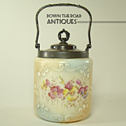 Wave Crest Biscuit Container with Silver Plated Mounts c.1900