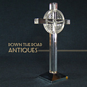 Large Signed Lalique France Glass Crucifix with Metal Base