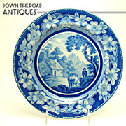 Blue and White Pottery Cabinet Plate - c.1870