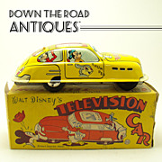 SOLD Marx Walt Disney Television Car Tin Friction Toy - Mint in Box