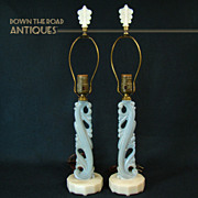 SOLD Alicite Opalescent Aladdin Table Lamps (Pair) - 1920's Art Deco