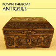 Bronze Inlaid Silver and Copper Egyptian Jewel Casket - 1880's