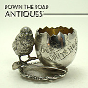 Silver Plated Chick and Egg Toothpick Holder - c.1890