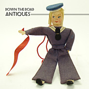 Composition and Felt Sailor Doll - Conte Biancamano - 1940's