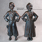 Cast Iron Figural Andirons with Bronzed Finish - 1920's
