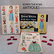 Snow White and Seven Dwarfs Cut-out Dolls Game - Mint in Box - 1930's