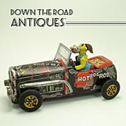 Hot Rod Dog Tin Friction Toy - Near Mint