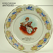 Porcelain Calendar Plate with Blue Birds and Girl Driving Automobile -  1920