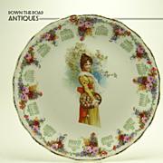 Porcelain Calendar Plate with Girl and Apple Basket - 1911