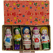 Set of Japanese Bisque Dolls - Mint in Box - 1920's