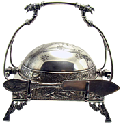 Silver Plated Butter Keeper with Rotating Lid - 1880's Aesthetic Movement