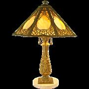 Bradley & Hubbard Carmel Slag Electric Table Lamp with Marble Base