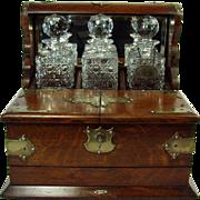 Tiger Oak Tantalus Liquor Cabinet - 1890's
