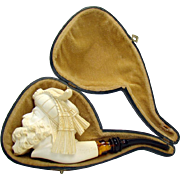 Carved Figural Meerschaum Pipe - 1960's