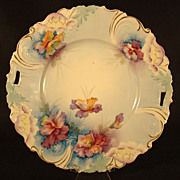 Hand Painted Plate with Pansies