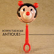 Early Disney Celluloid Pie-Eyed Mickey Mouse Baby Rattle Toy