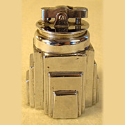 SOLD Ronson New Yorker Lighter in a Stepped Chrome Plated Base