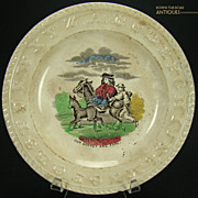 """Early ABC's Plate -- """"Our Donkey and Foal"""""""