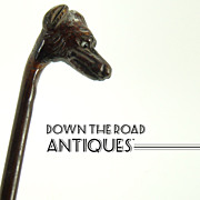 Carved Rosewood Horse Whip with Dog Head and Glass Eyes