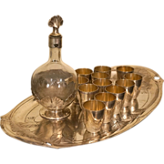 Christofle Gallia and Baccarat French Art Nouveau Liqueur Set for 12, Tray Decanter Cups c 190