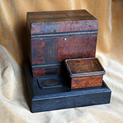 SALE Late 19th Century French Burled Wood Cigar Keeper, Man's Necessaire