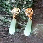 SALE PENDING Exotic, Old 14K Gold, Jade Chandelier Earrings