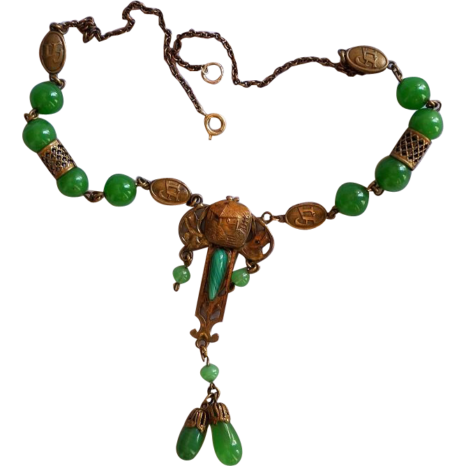 Lovely and Ornate French Art Nouveau Peking Glass Necklace, c 1910 ...