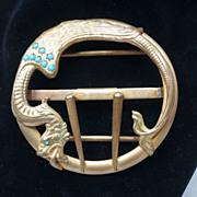 Art Nouveau Jeweled Winged Serpent, Griffin, Dragon Belt Buckle c 1910
