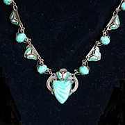 Art Deco Czech Glass, Plique-à-Jour Enamel Butterfly Necklace c 1930
