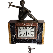French Art Deco Mantel Clock with Beautiful Lady, Bird; Paris find c. 1925