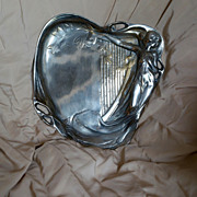 WMF Art Nouveau Serving Tray, High Relief Nude w Harp, Flowers, Silver Plate c 1890