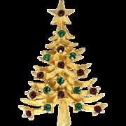 SALE Vintage Red/Green Rhinestone MYLU Christmas Tree Pin (Book Piece)