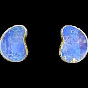 Celia Sebiri earrings Brass Lapis lazuli inlay