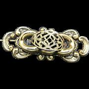 Victorian revival brooch antique gold tone metal Freirich