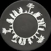 Wedgwood Black Basalt Plate White Jasperware Classical