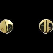 Pierre Cardin earrings Gold tone Logo Clip on