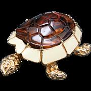 Charming turtle pin lucite enamel CINER