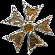Flower PIN small Pewter tone metal Geometric