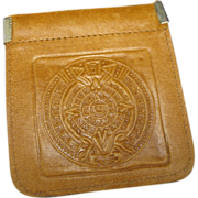 SOLD Leather wallet Mexican Calendar Stone Coin Purse