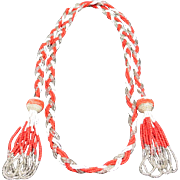Lariat necklace Seed Beads Red and white glass