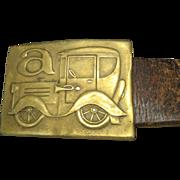 Bronze Belt Buckle Model A Hippie Belt Wide