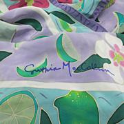 SOLD Cynthia MacCollum Silk Scarf tropical motifs Flowers Hawaiian