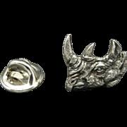 Rhino Tie Tack Rhinoceros Head Pin Pewter tone metal