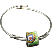 Sterling Silver Bracelet Twisted Wire African Trade Bead Accent