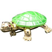 Turtle pin glass shell gold toned metal super cute