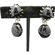 Miriam Haskell Earrings Black Glass Clip on Dangles Pewter Tone