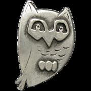 Owl Pin Pewter Charming Vintage Brooch Metzke