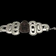 Trifari bracelet Buddha head Pewter tone links